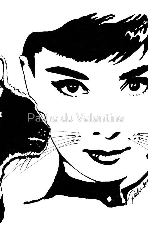 Audrey Hepburn with Cat Whiskers by Pasha du Valentine for Goddamn Media