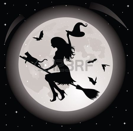 Silhouette of a witch and a cat flying on a broom. Full moon..