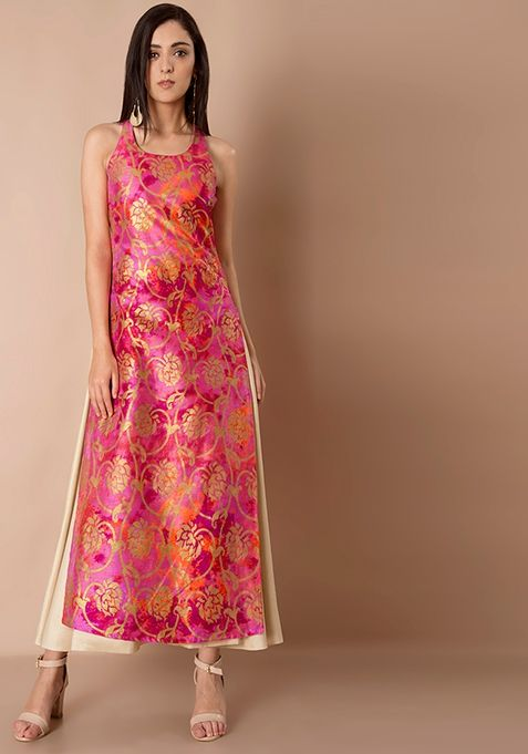 91f68b02be Double Layer Silk Maxi Tunic - Pink Foil Online | Women's Indya Tunics |  FabAlley.