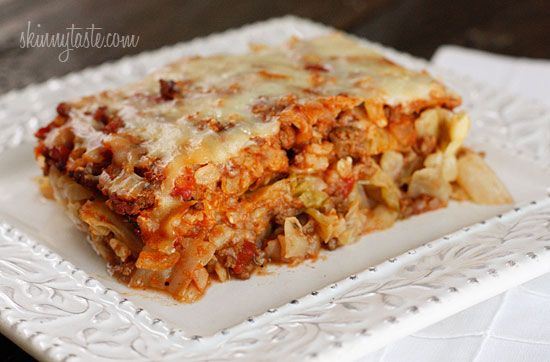 Kalyn's Stuffed Cabbage Casserole | Skinnytaste: Dinners Tonight, Casseroles Recipes, Tomatoes Sauces, Brown Rice, Stuffed Cabbages Casseroles, Stuffed Cabbage Casserole, Extra Flavored, Cabbages Rolls, Spaghetti Sauces