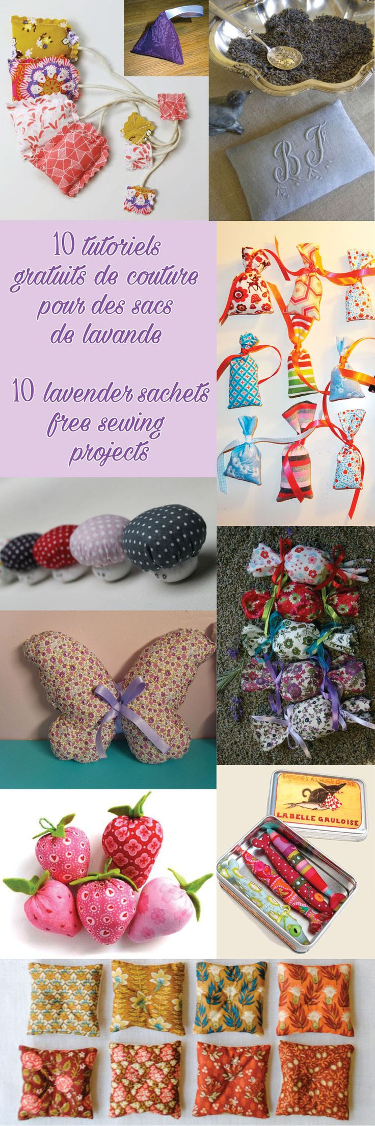 10 tutoriels gratuits de couture pour sacs de lavande - 10 lavender sachets free sewing projects - DIY - Tutorial - Patterns - ideas - BizzBizzHandMade                                                                                                                                                                                 Plus