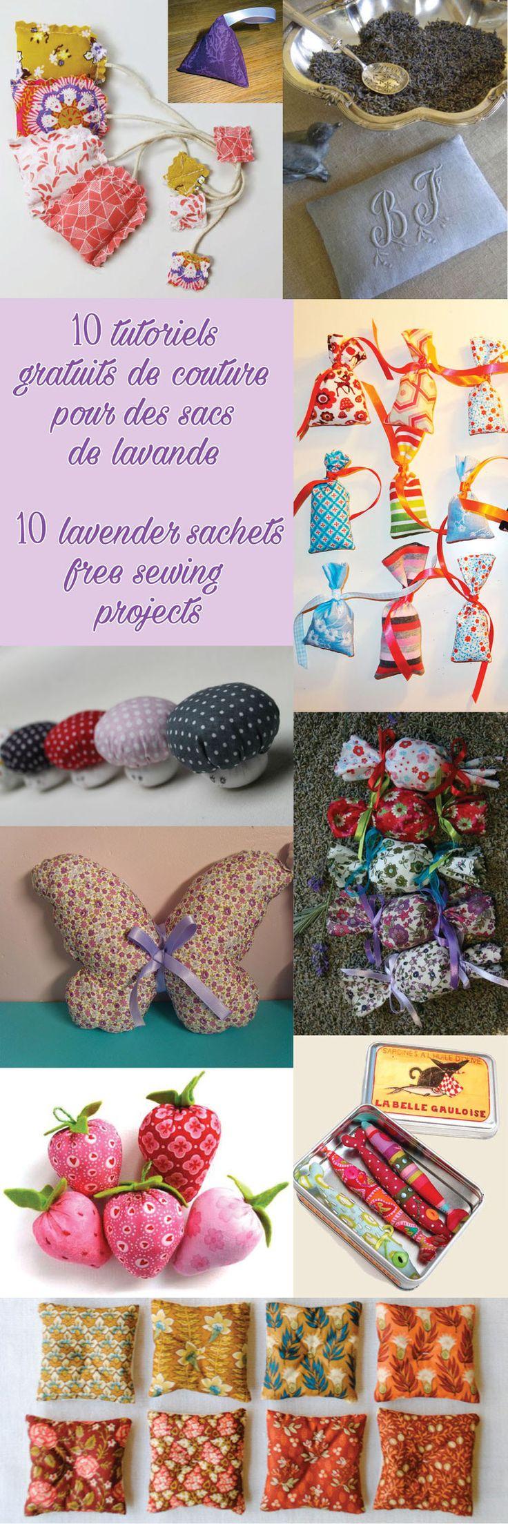 10 tutoriels gratuits de couture pour sacs de lavande - 10 lavender sachets…