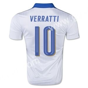 Cheap soccer jersey from topjersey 2016 European Cup Italy VERRATTI Away White Thailand Soccer Jersey-Italy,Thailand Quality National Team| topjersey