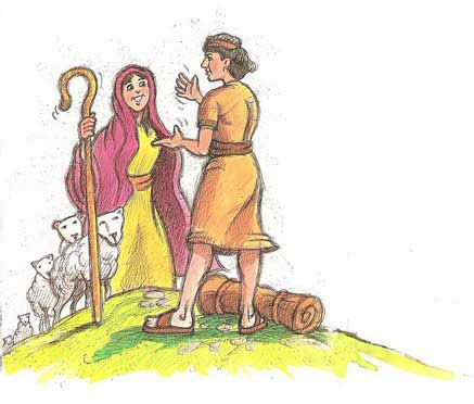 Jacob and Rachel Bible coloring page for Kids to Learn bible stories