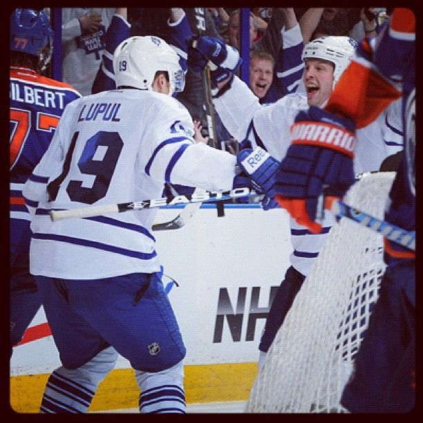 The Leafs are all smiles after Tim Connolly's OT winner over the Oilers.