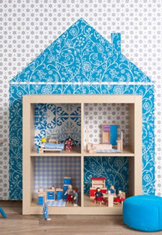 Create your own dollhouse for the #kidsroom #DIY- I used to do this with our nest of coffee tables!