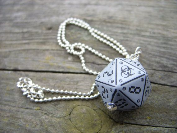 neuroshima biohazard D20 dice pendant dice jewelry grey gray biological hazard dice necklace. $31.00, via Etsy.
