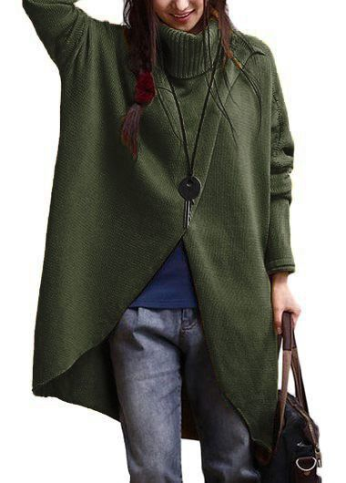 Turtleneck Asymmetric Hem Army Green Long Sleeve Sweater