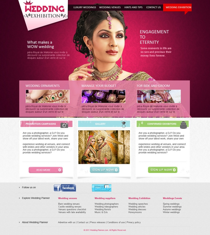 Wedding exhibition company in Australia , website design and development