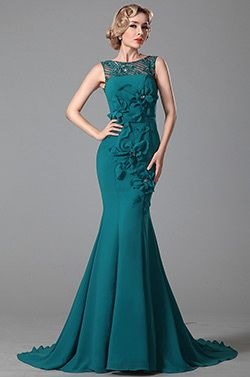 Stunning Sleeveless Floral Evening Gown Formal Dress (02150705) - USD 211.22