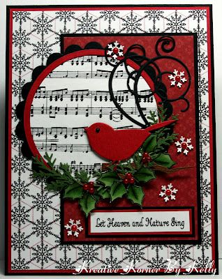 lovely handmade Christmas card ... two step bird punched in red ... luv how the sentiment and the music tie together the theme ... Stampin' Up!