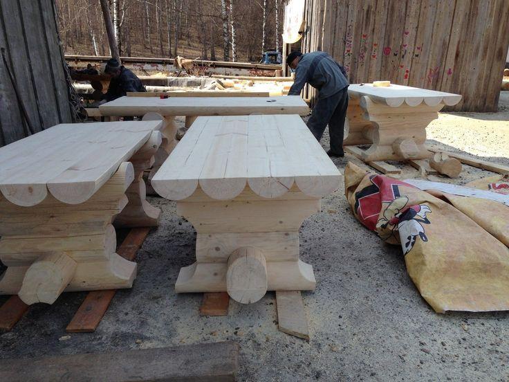 Изготовление мебели из бревна