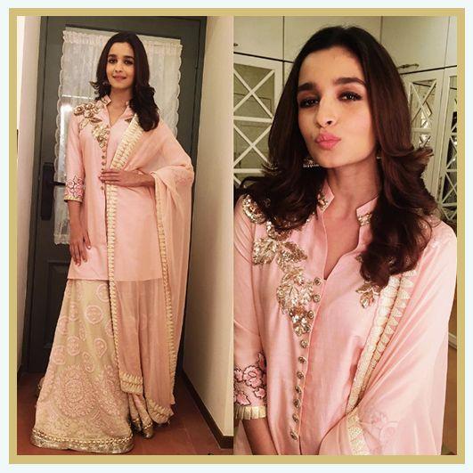 Alia Bhatt in pink Manish Malhotra lehenga, MyFashgram
