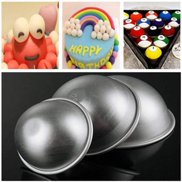 3 Sizes Aluminum Ball Fondant Cake Mold Semicircle Pudding Mold