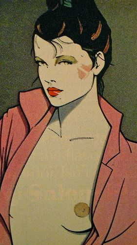 Patrick Nagel, like the comic book texture.. Will consider.