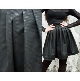 Wet Look Black Brocade Gothic Lolita Pleated Skirt