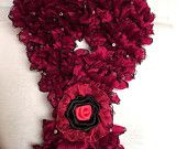Red Ruffle Scarf with sequins Valentine's Day Gift For Her Mother's day , Europeanstreetteam , Craftoriteam