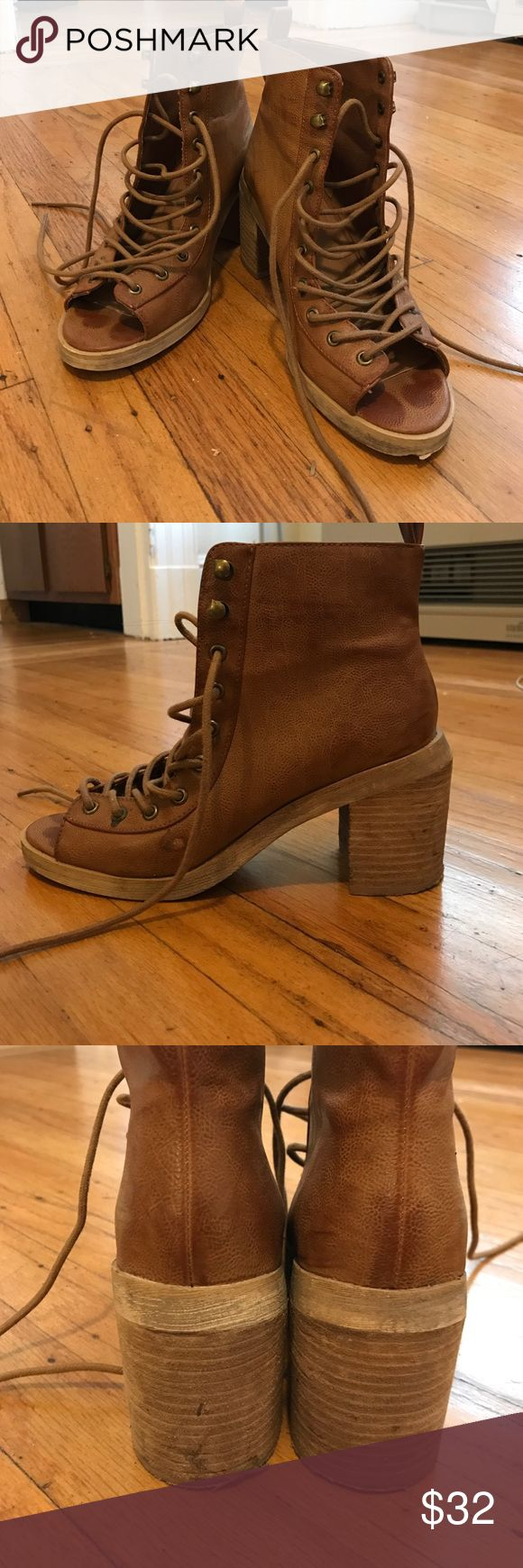 Urban Outfitters (deena and ozzy) lace up heels Worn 2-3 times. Urban Outfitters Shoes Lace Up Boots