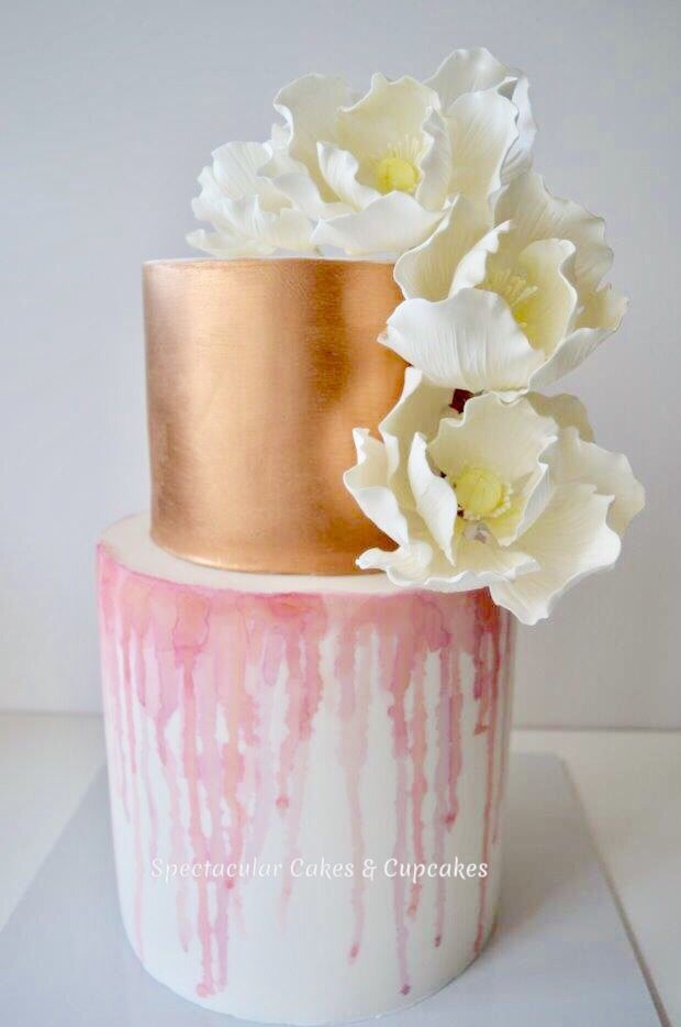 Wedding Cakes Sydney Rose Gold And Watercolour Cake