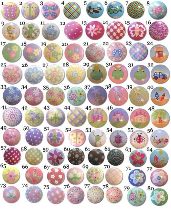 So many choices of drawer knobs for kids.  Something to go with almost every decor