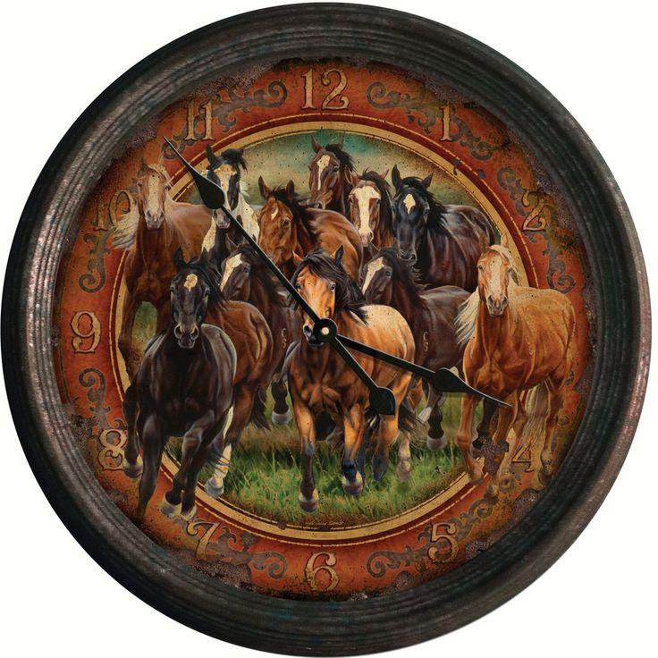 Rivers Edge Running Horses Vintage Wall Clock - REP1021