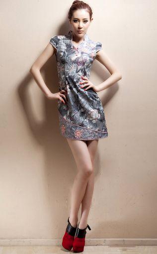 Short Stand-up Collar Cheongsam / Qipao / Chinese Dress