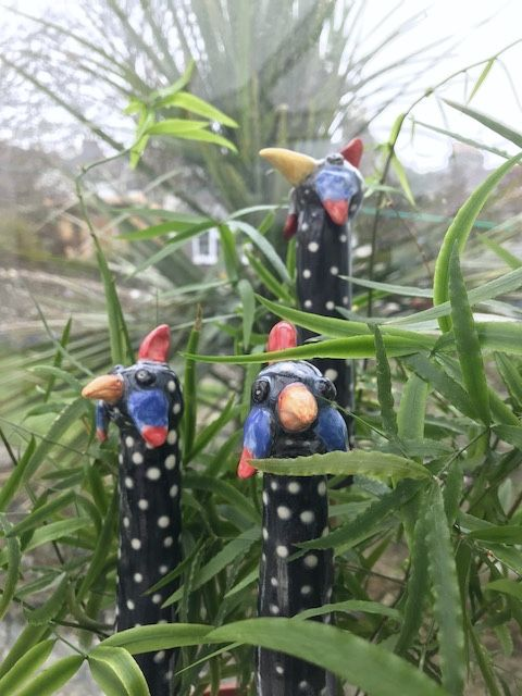 Guinea fowl garden bamboo toppers to add a little smile and colour