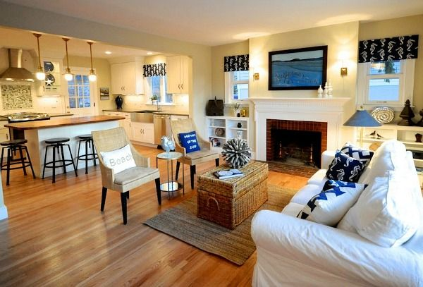 """This """"Cape Cod in Maine Remodel AFTER (7)""""photo shows the kind of transformation that would be possible for our kitchen if we opened up the kitchen to the living room like I want to"""