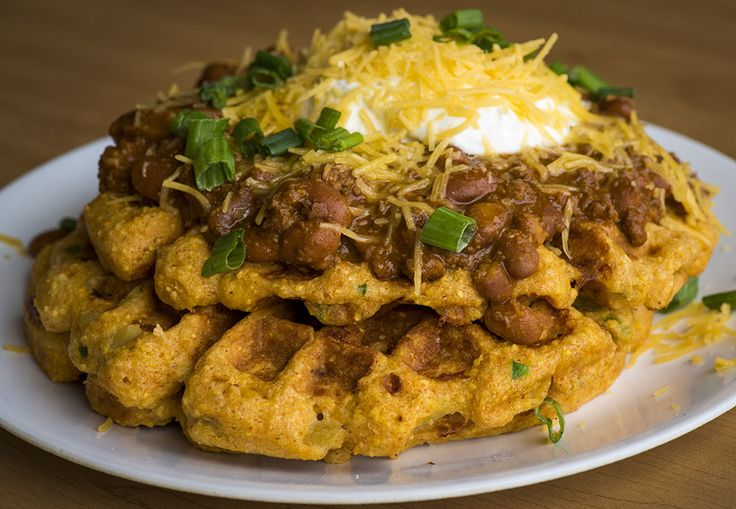 Savory Cheddar Jalapeño Cornbread Waffles With Chili