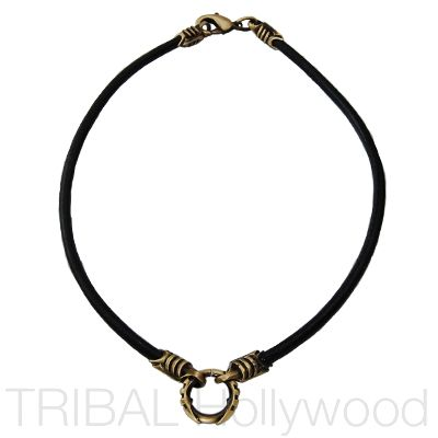Leather Necklace w/ brass warrior ring @Tribal Hollywood.com