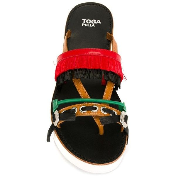 Toga Double-Layered Fringed Flip Flops (200 AUD) ❤ liked on Polyvore featuring shoes, sandals, flip flops, multicolor shoes, fringe sandals, colorful sandals, multi color flip flops and toga shoes