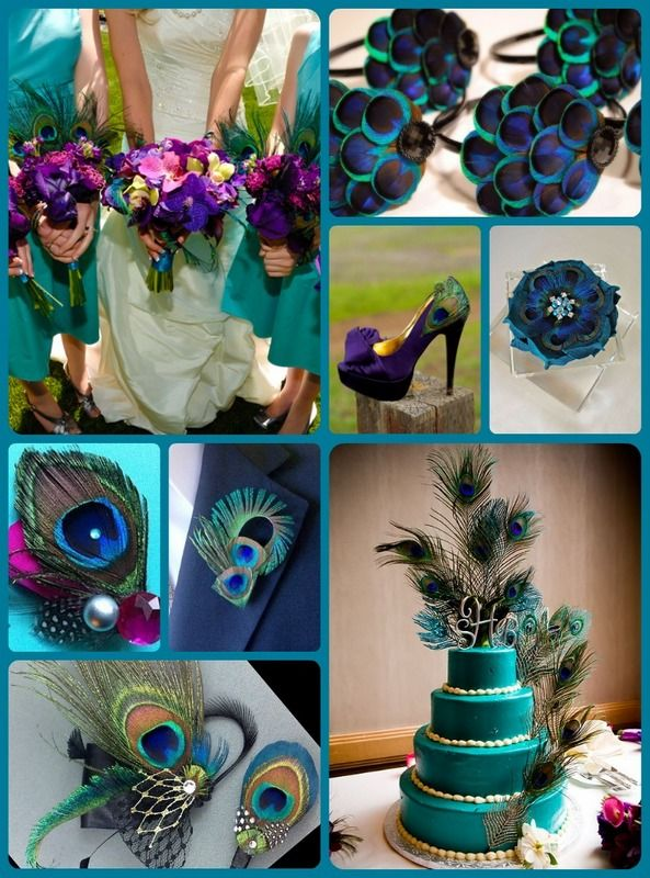Peacock wedding colours: Wedding Colour, Peacock Feathers, Peacock Wedding, Peacock Theme, Wedding Colors, Colors Schemes, Wedding Theme, Peacock Colors, Purple Bouquets