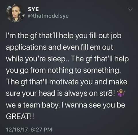 Lol could've been. Want s to give you the world and create a world with you. When you didn't even want to make an effort to make me a part of your world