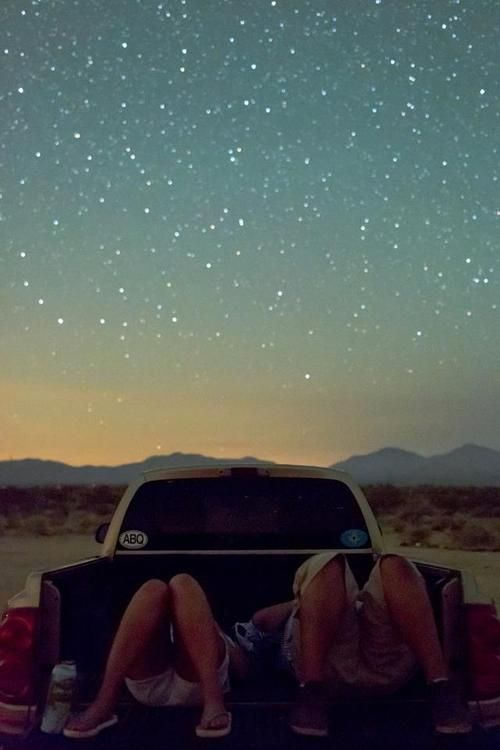 truck bed in the middle of nowhere. stary night. can't get any better than that
