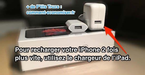 Heureusement il existe un truc tout simple pour le recharger 2 fois plus vite.  L'astuce est d'utiliser le chargeur de l'iPad qui est plus puissant que celui fourni avec l'iPhone. Regardez :  Découvrez l'astuce ici : http://www.comment-economiser.fr/recharger-plus-rapidement-iphone-avec-chargeur-ipad.html