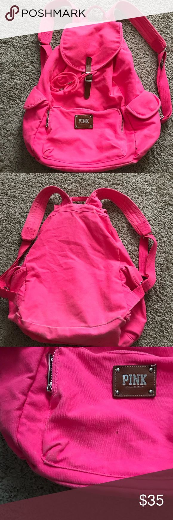 Victoria Secret Pink Brand Back Pack Hot Pink  Victoria Secret Vintage PINK brand backpack. Please note it is USED. No hole, rips or tears. There are minor marks and faded spots. The pictures do a pretty good job of showing the overall look of the bag. Please view all pictures and take note that it is in used condition. Please ask questions and make offers. No trades. It is Hot Pink in color with leather closure. Thanks!! PINK Victoria's Secret Bags Backpacks