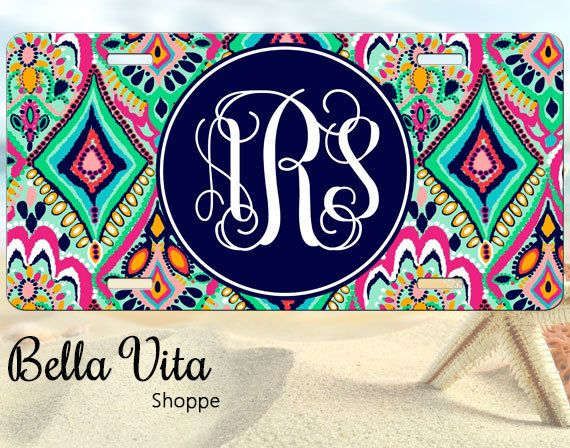 Monogrammed Car Tag - Floral Jewels - Personalized Front License Plate 9016 by bellavitashoppe on Etsy https://www.etsy.com/listing/194975586/monogrammed-car-tag-floral-jewels