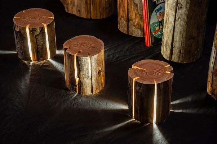 #интересное  Мастер превращает поленья в лампы, лопающиеся от света (10 фото)   Тасманский дизайнер мебели Дункан Мердинг любит дикую природу и это проявляется в его работах, главным образом в его лампах, изготовленных из поленьев. Эти лампы интересны тем, что тре