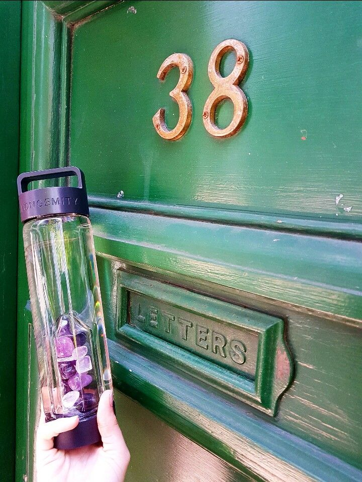 Water Bottle Longemity. Crystal infused gem water. Aspirations our Amethyst and Clear Quartz blend