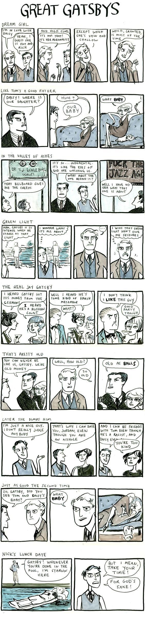 The Great Gatsby comic strip summary (watch for the F word).