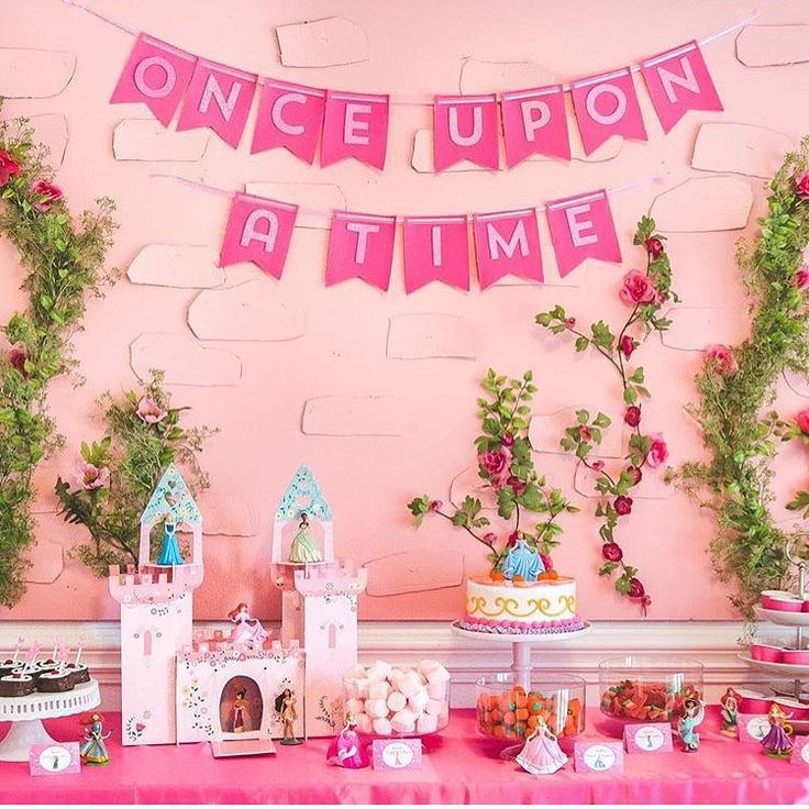 Such a lovely Princess party! The pink backdrop resembling a castle wall, with climbing flowers & the 'Once Upon A Time' banner looks fantastic & sets the scene perfectly! Regram @zurcherspartystore Credit @athomewithnatalie