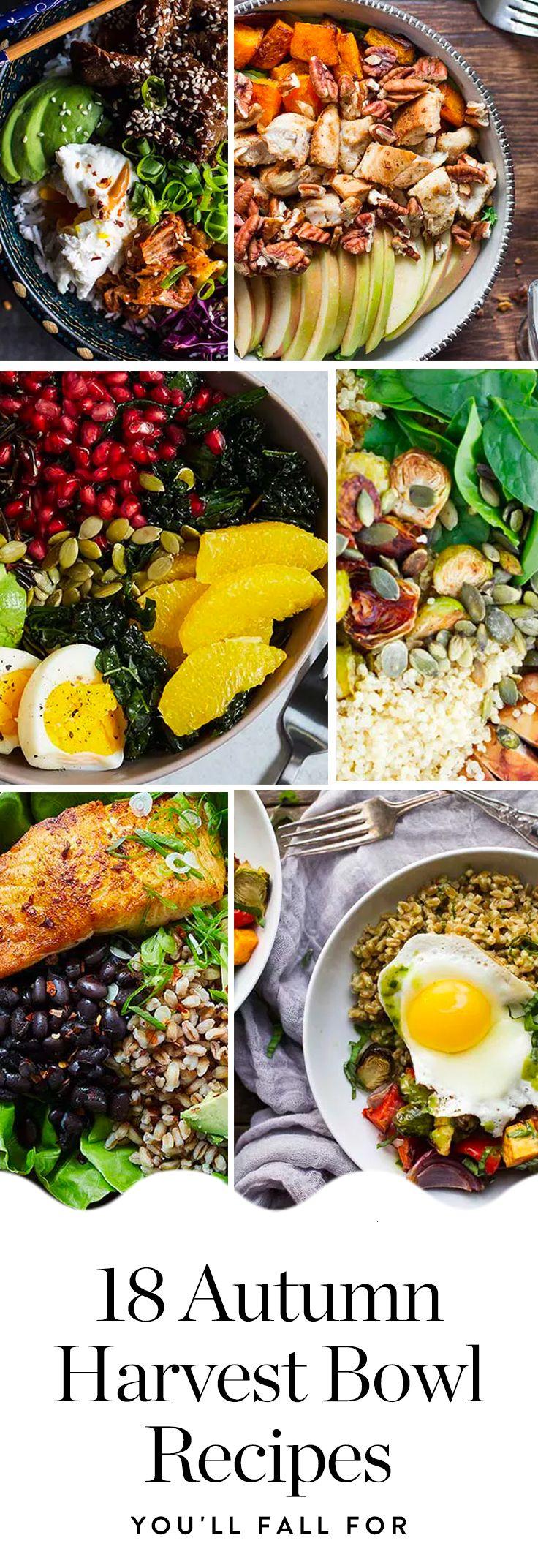 Here are 20 amazing autumn harvest bowl recipes you'll fall for. #fallrecipes #fall #recipes #harvestbowl #healthyrecipes