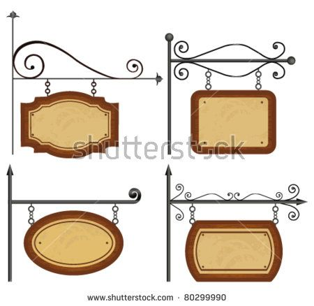 Set of wooden sign. Vector