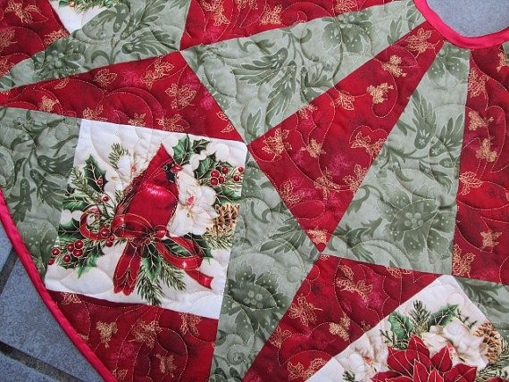 Christmas Tree Skirt Traditional Christmas by bellazahn on Etsy, $189.00