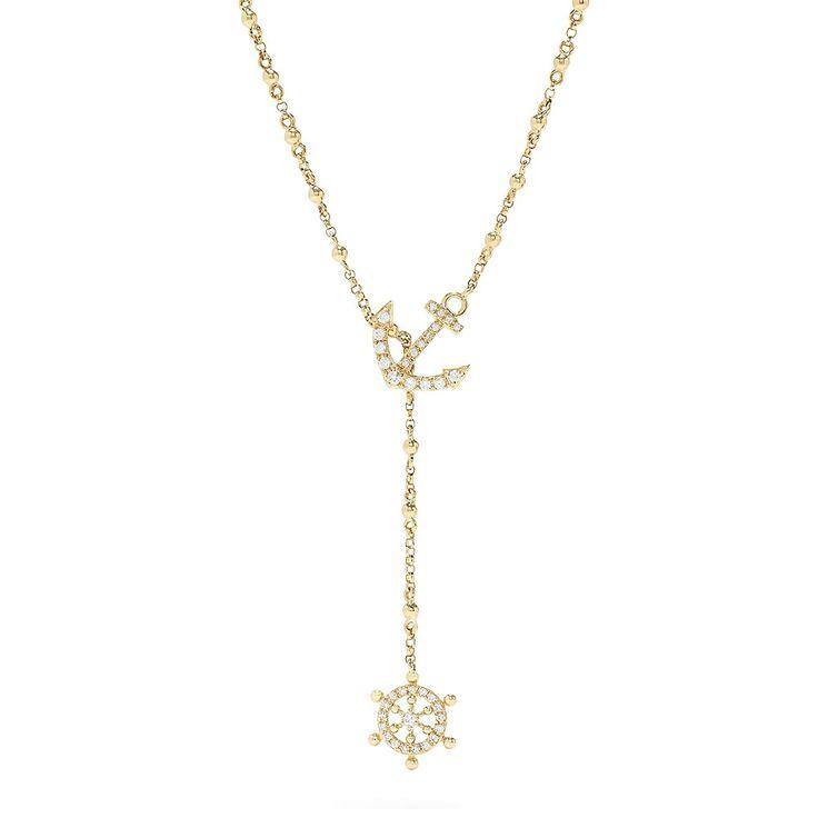 Effy Novelty 14K Yellow Gold Diamond Nautical Necklace, 0.18 TCW