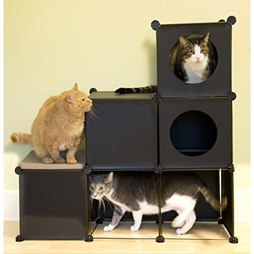 Customizable Cat House Kitty Condo Scratcher Board Modular DIY Furniture Black #CatHouse
