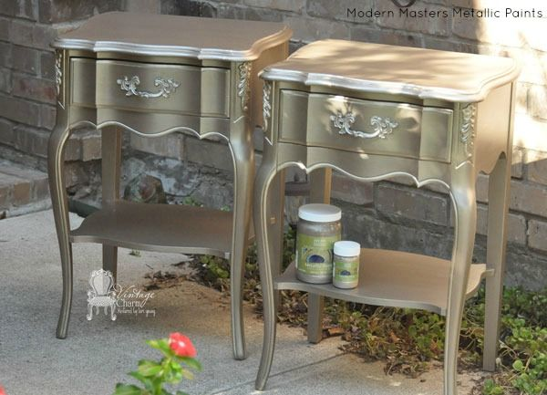 Modern Masters Nickle & Champagne Metallic Paint on French Nightstands | By Vintage Charm Restored | Modern Masters Cafe blog