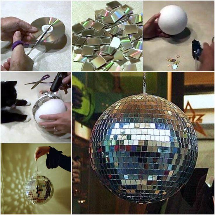 Como fazer um globo de discoteca com CD usado How to Make a disco ball with CD used