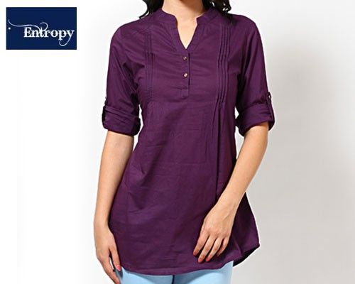 The lightweight and comfortable cotton material is perfect for these hot and sticky monsoon months. The style factor is accentuated by its bright yellow colour and the v-neck collar.  The versatile design of this kurti ensures that you can wear it to work or to coffee with your friends. Match it with a churidaar, jeans or chinos to create a number of great looks out of this one kurti.