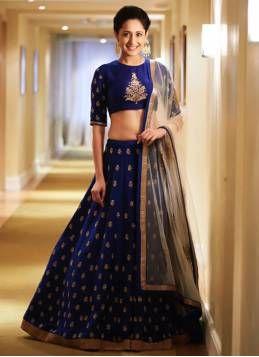 Kapadewala Latest Blue Banglore Silk Semi Stitched Free Size XXL Lehenga Choli for Women